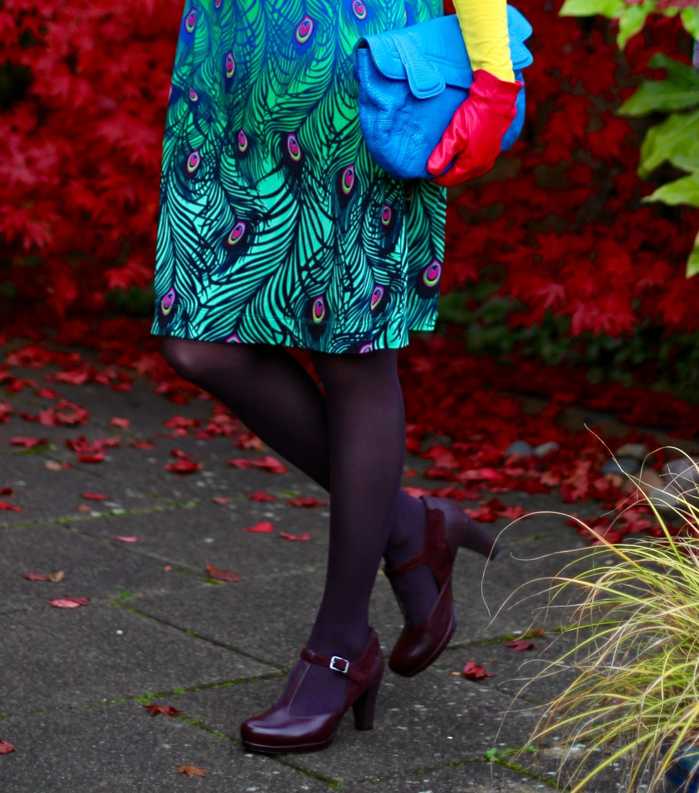 Fake Fabulous | Peacock Wrap dress & Bold Colours, over 40!