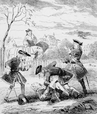 Duel between Lord Mohun and the Duke of Hamilton  from The Chronicles of Crime by C Pelham (1841)