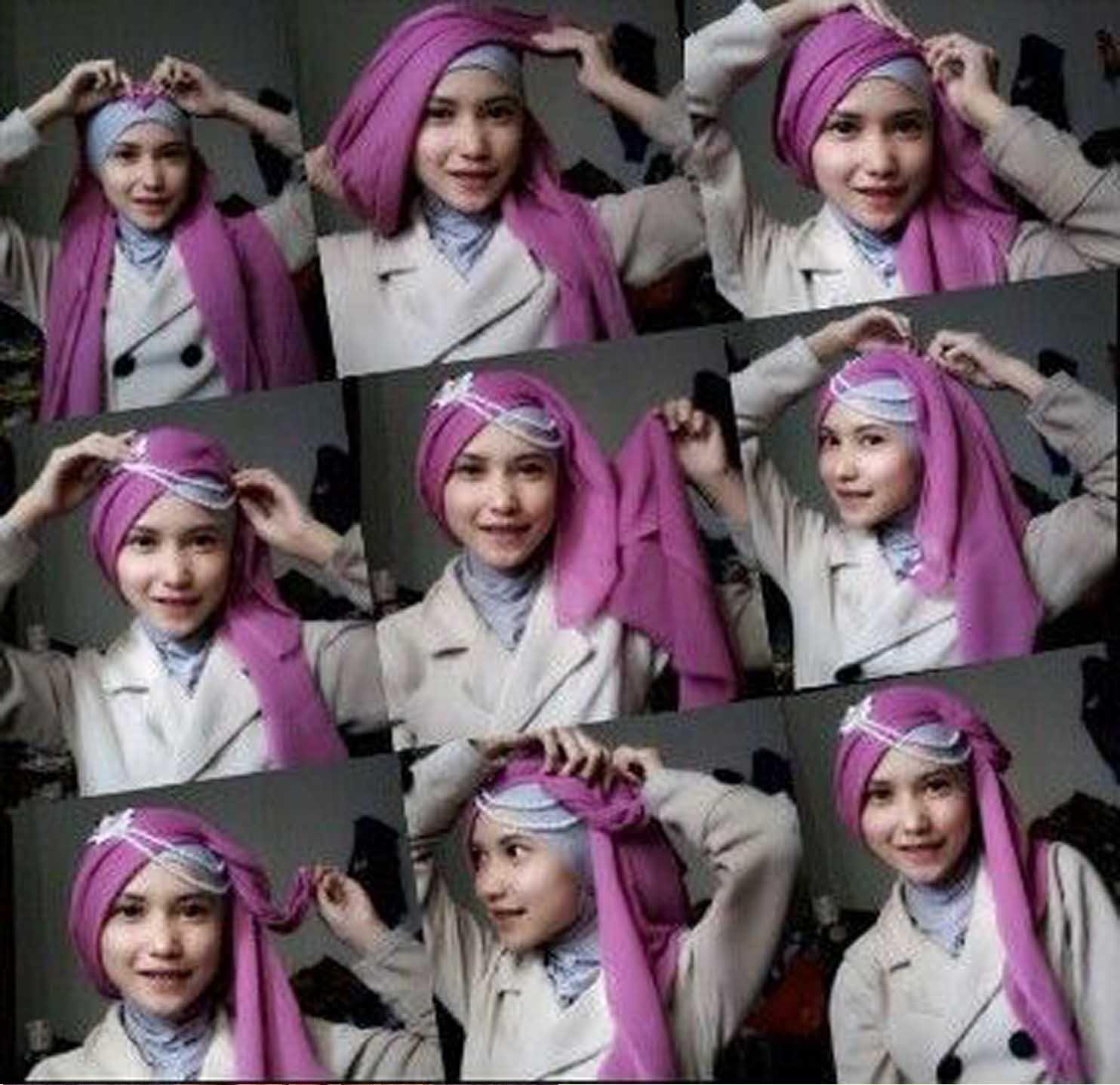 25 Gambarnya Tutorial Hijab Paris Bertumpuk Terlengkap Tutorial