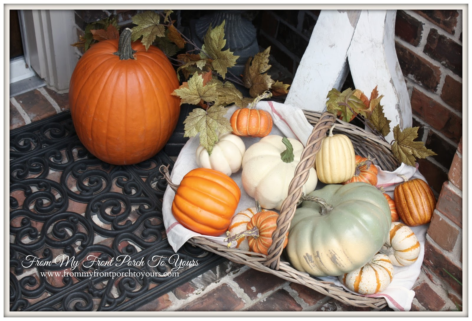 From My Front Porch To Yours- Falling For Fall Porch Party- Real Pumpkins Mixed with Faux Pumpkins