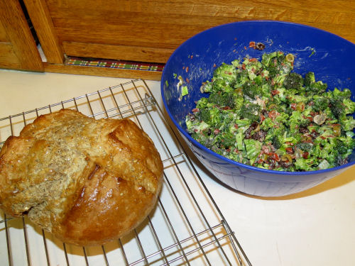 soda bread and broccoli salad