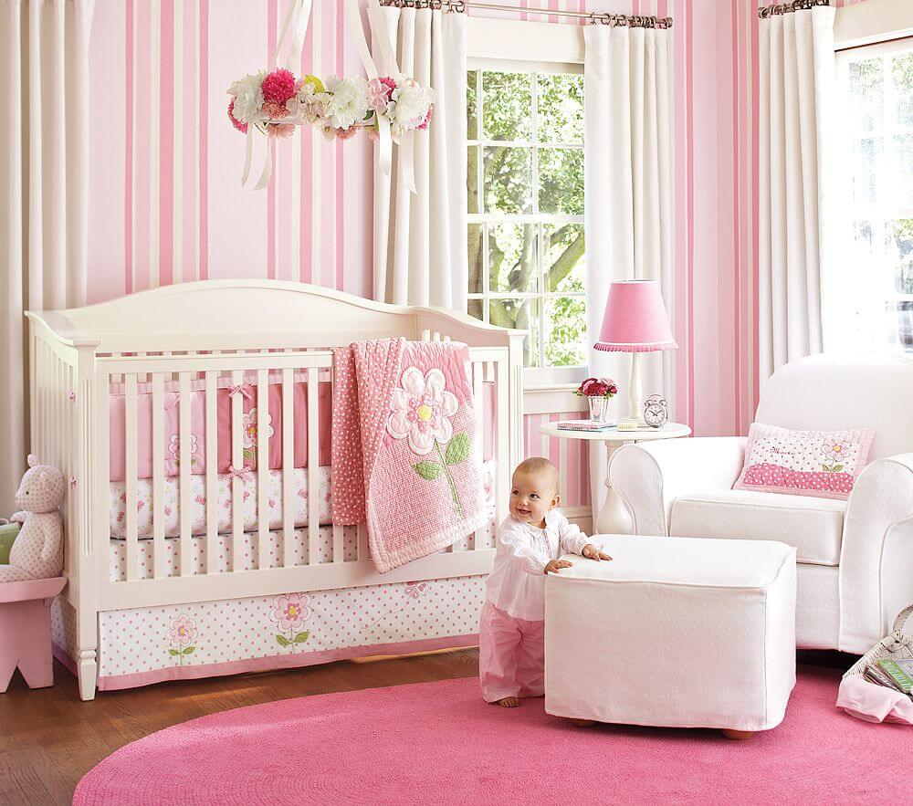 Pink Color Dominance Baby Girl Popular Nursery Bedroom Themes Cheap On A  Budget Decor