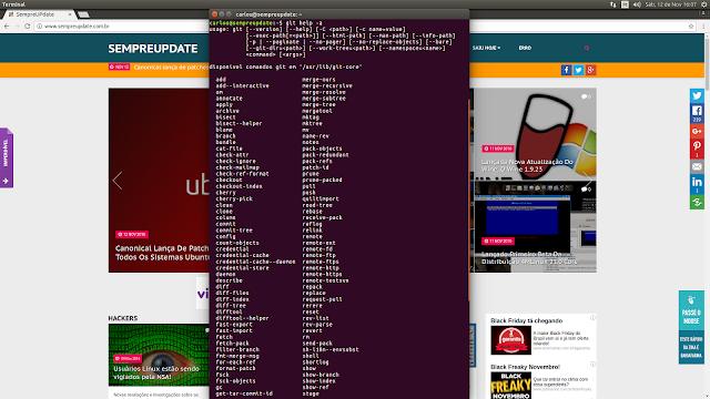 Git 2.8.4 instalado em um sistema Ubuntu