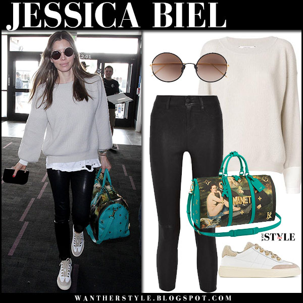 Jessica Biel in beige knit sweater dorothee schumacher and black leather skinny pants lagence airport fashion january 15