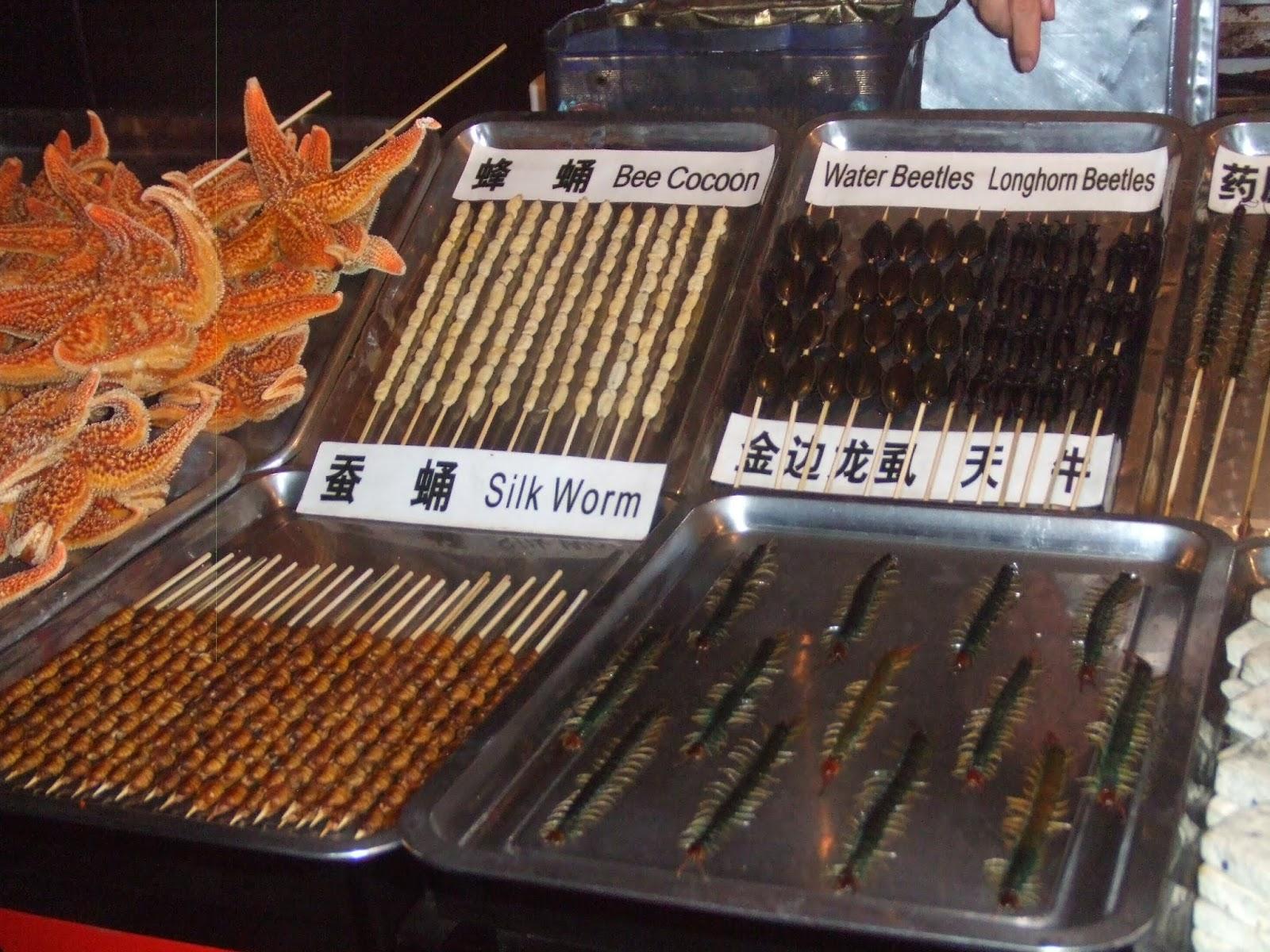 Insekten am Spieß am Abend