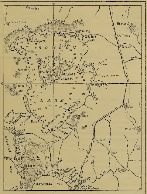 A 1906 map of Taal Lake and Volcano, including surrounding areas.