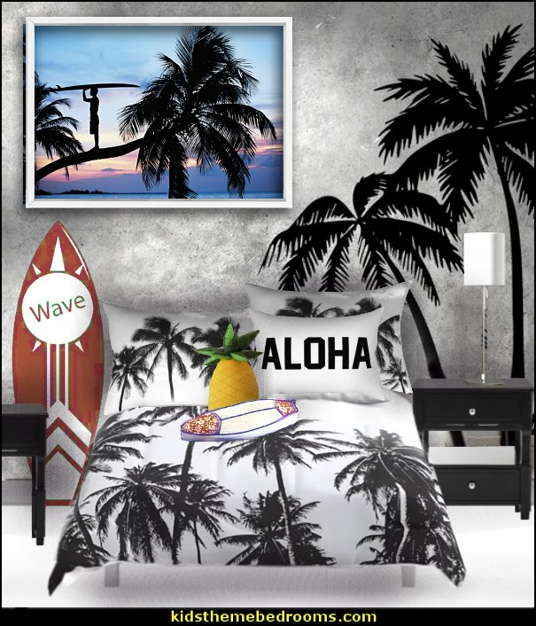 surfing black and white tropical beach bedroom decorating surfing bedroom - beach surf themed bedroom ideas - surfer girl themed bedrooms - surf decor for bedroom  - beach theme bedrooms - surfer girls - girls surfing themed bedroom ideas - surfer boys - surfing themed bedroom decorating ideas - beach bedrooms - raffia valance window ideas - 3d wall decorations - surfing decor - surfer girls surfing bedrooms surf bedding -  coastal living style -