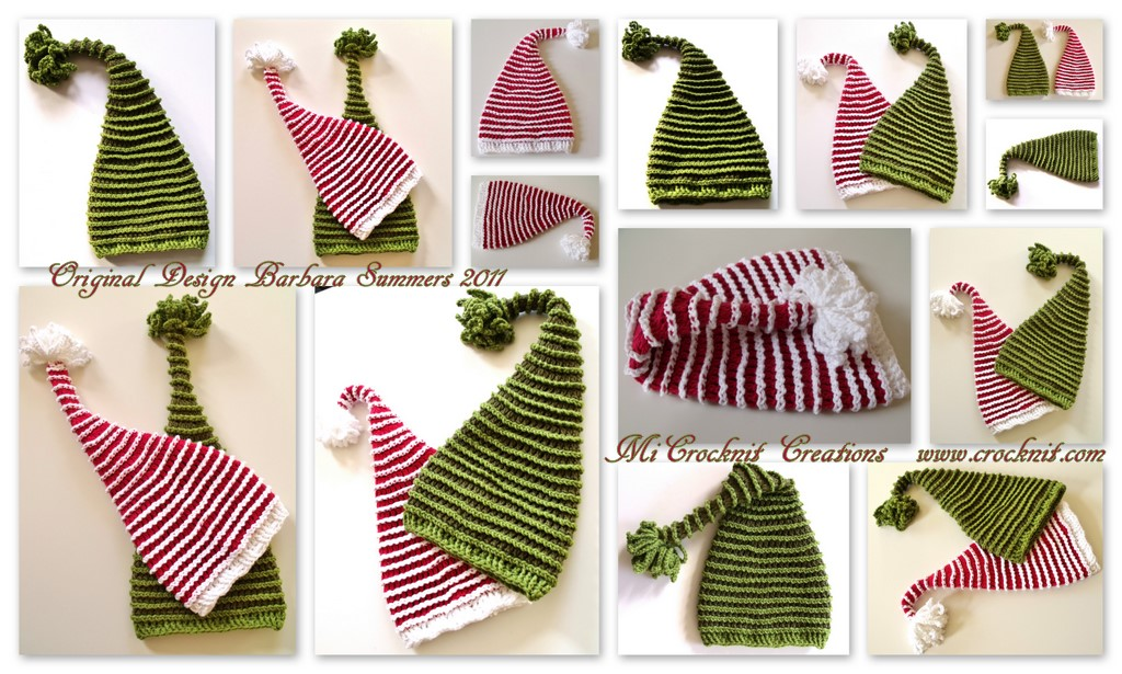 Microcknit Creations Perfect Crochet Hat Christmas Santa Elf Long Tail