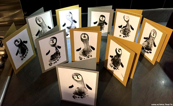 Penguin Keepsake Foot Print Cards