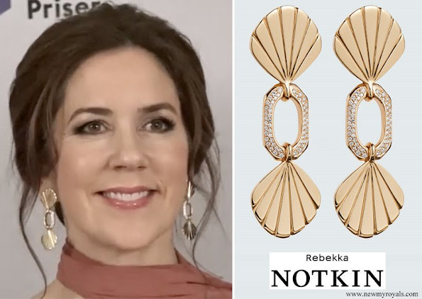 Crown Princess Mary wore Rebekka NOTKIN Darling Diamond Gold Earings