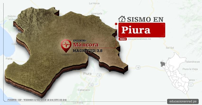 Temblor en Piura de magnitud 3.8 (Hoy Viernes 2 Febrero 2018) Sismo EPICENTRO Máncora - Talara - IGP - www.igp.gob.pe