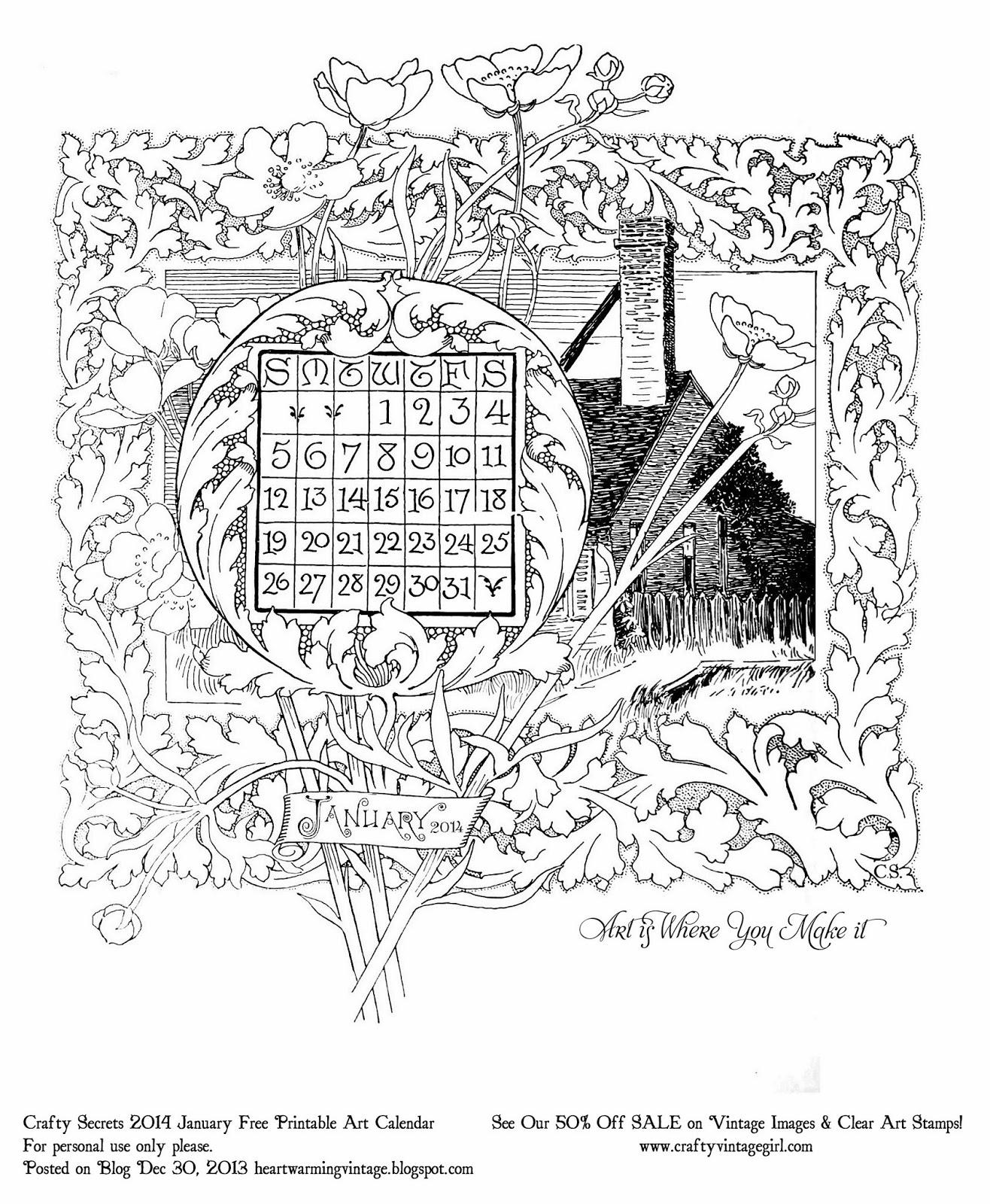 Crafty Secrets Heartwarming Vintage Ideas And Tips Free Printable January Art Calendar