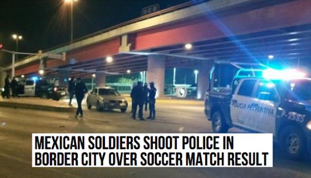 Militares y Federales se pegan tremenda borrachera viendo un partido de fútbol momentos después salen mal por el resultado y los soldados agarran a balazos a los policías