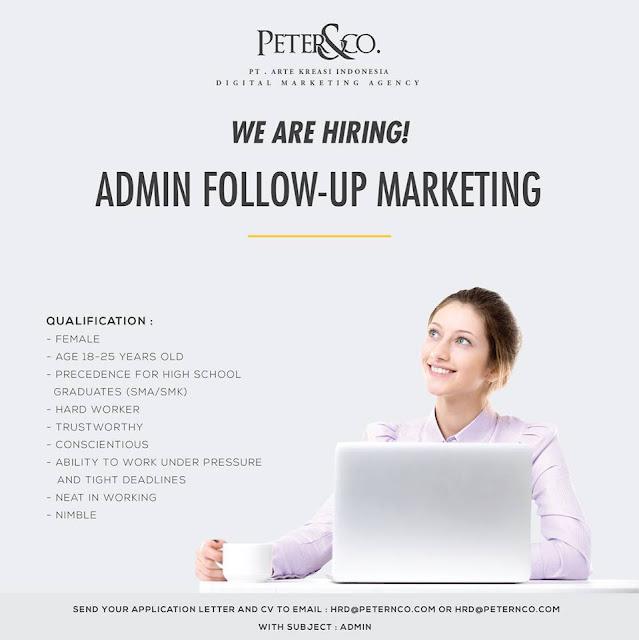 lowogan kerja ADMIN PETER&CO Bandung