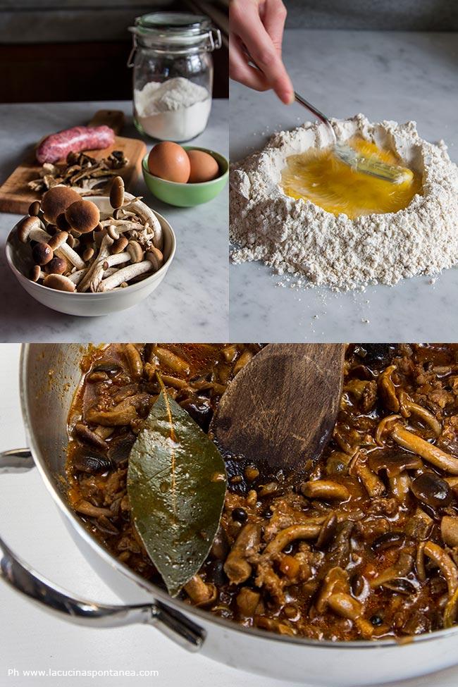 Foto con passaggi della preparazione delle pappardelle di farina di castagne con sugo di funghi e salsiccia