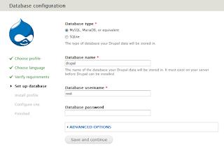 Gambar konfigurasi database drupal