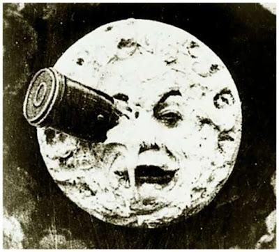 Imagen cohete impacta ojo Luna Melies