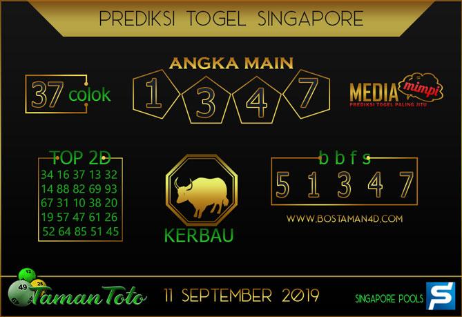 Prediksi Togel SINGAPORE TAMAN TOTO 11 SEPTEMBER 2019