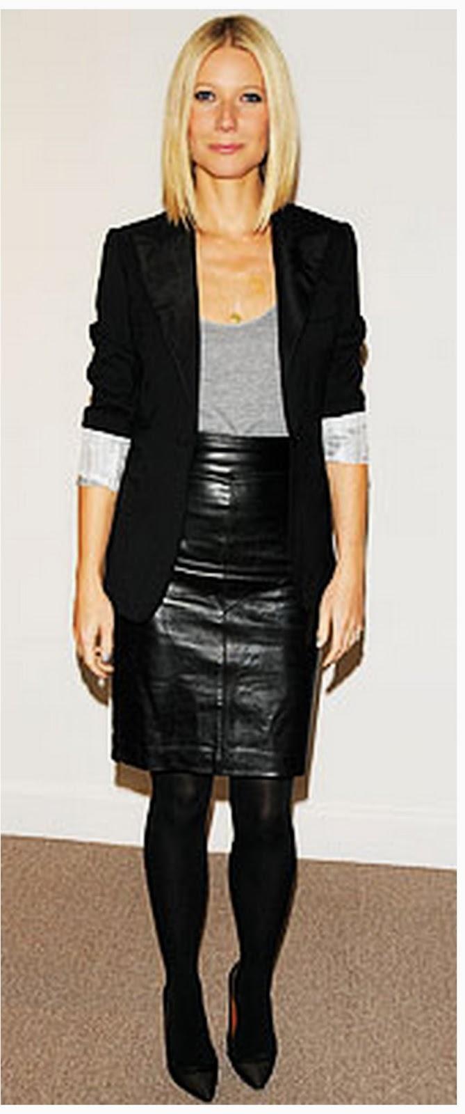 Street style falda cuero negra