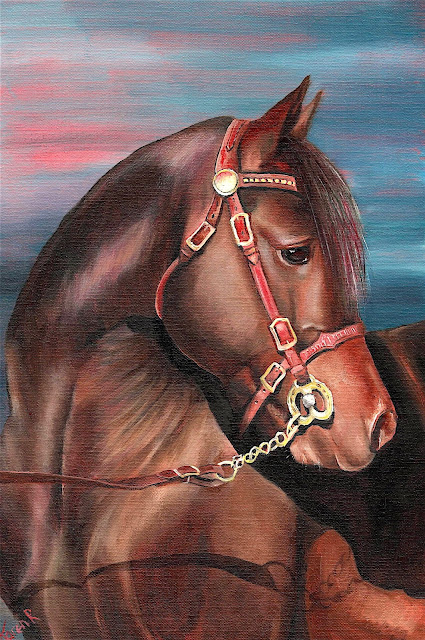 Oil painting of elegant horse on a red and stormy background