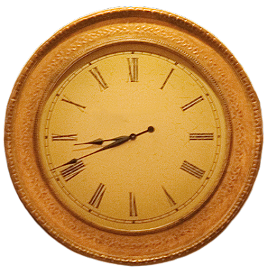 A round classic wall clock in gold tones with wood framing.