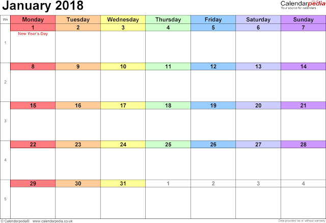 January 2018 Printable Calendar, January 2018 Calendar, January 2018 Calendar Printable, January 2018 Calendar Template, Printable January 2018 Calendar, January Calendar 2018, Free January 2018 Calendar