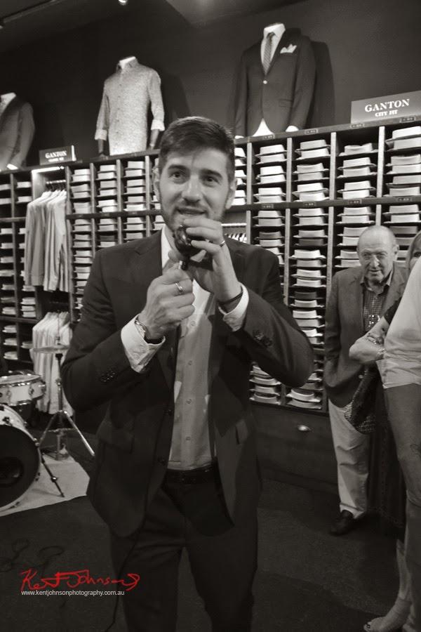 Justin Marmot MCing at the Ganton Man competition, Shirt Bar Sydney - Photography by Kent Johnson.
