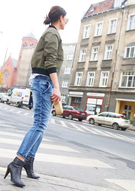 bomber, kurtka, streetstyle, military, boyfriend jeans, stylistka, styiistka poznan, street style poznań,