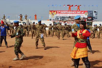 Pasukan Garuda Peringati HUT Kemerdekaan RI ke-71 di Sudan