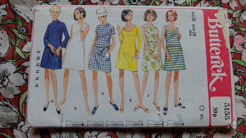 Envelope for Butterick 5155 misses a-line 1960s dress sewing pattern