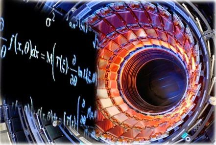 Perspective view of CERN Particle Accelerator with superimposed math equations
