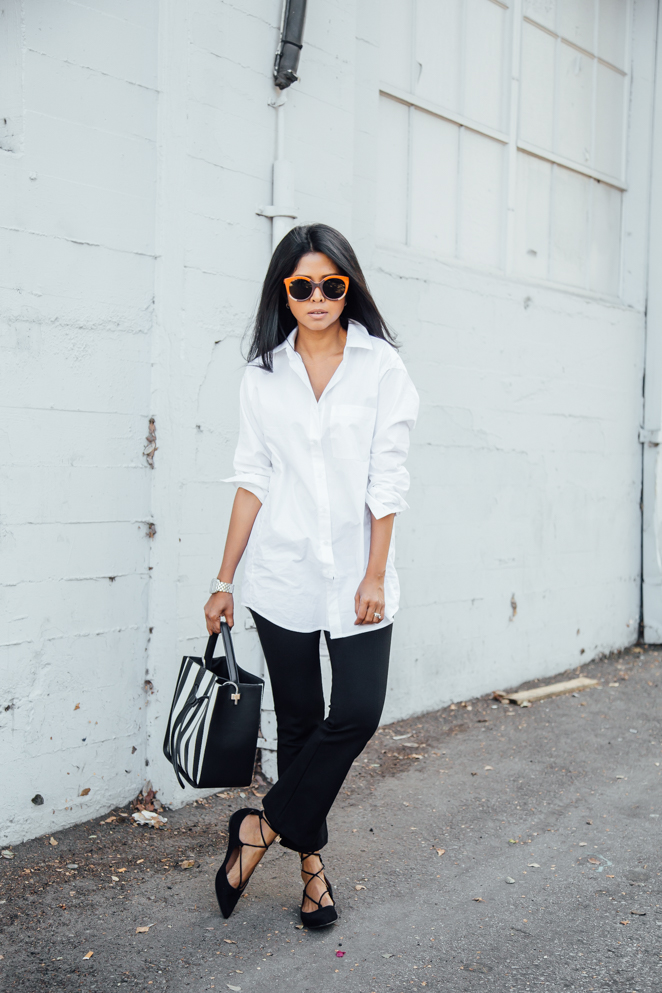 Walk In Wonderland - White Button Down + Steve Madden Lace Up Flats