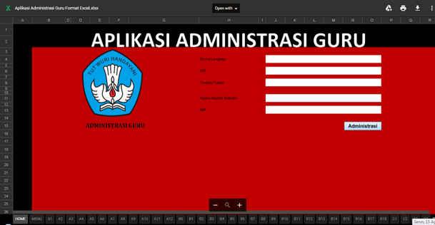 Download Aplikasi Pembuatan Administrasi Guru dalam 1 File Excel Lengkap Mudah dan Efesien Waktu