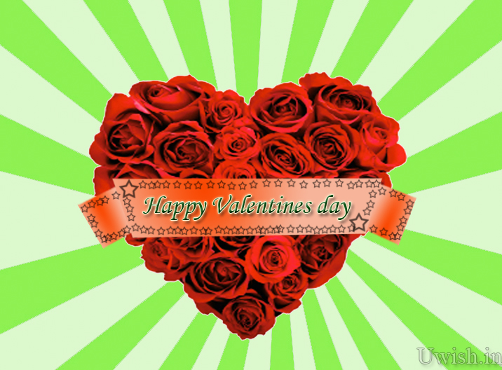 Happy Valentines Day with green background and red roses. Valentines day wishes and greetings 2013