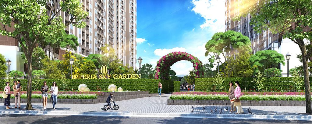 Phối cảnh cổng vào dự án Imperia Sky Garden