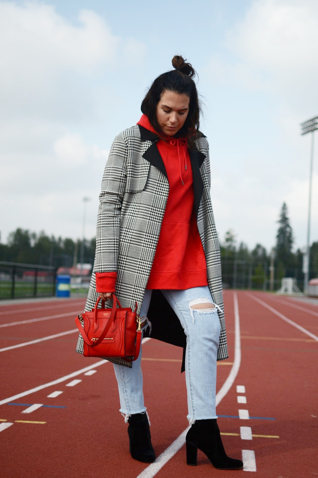 Champion hoodie Le Chateau plaid coat trench coat outfit Lord and Taylor 424 fifth velvet boots red celine nano bag aleesha harris vancouver blogger