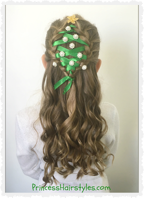 Christmas tree hair tutorial