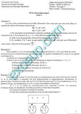 serie corrigé Thermodynamique SMPC et SMA S1 fssm