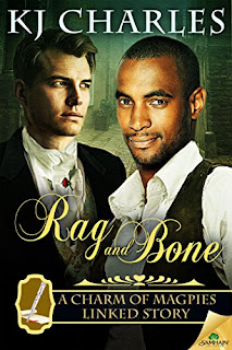 Cover of Rag and Bone, featuring a dark-haired black man and a dirty blonde white man together against a greenish background. They both wear vaguely Victorian dress.