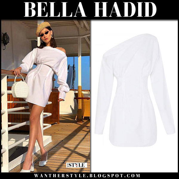 Bella Hadid in white one shoulder mini dress camilla and marc with straw beret gigi burris model style may 25