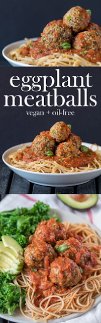 Vegan Eggplant Meatballs (Oil-free + Low-fat)