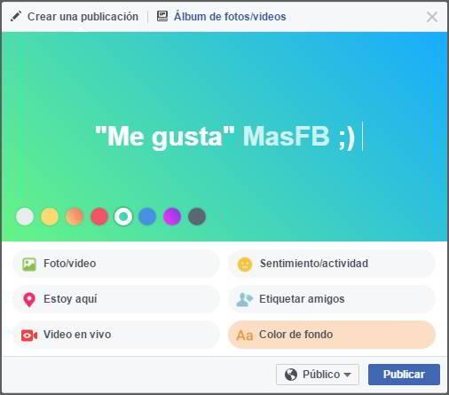 Cómo escribir con fondo de color en Facebook - MasFB