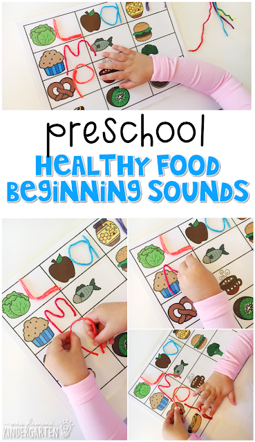 This healthy food sound activity is fun for letter sounds and fine motor practice with a healthy habits theme. Great for tot school, preschool, or even kindergarten!