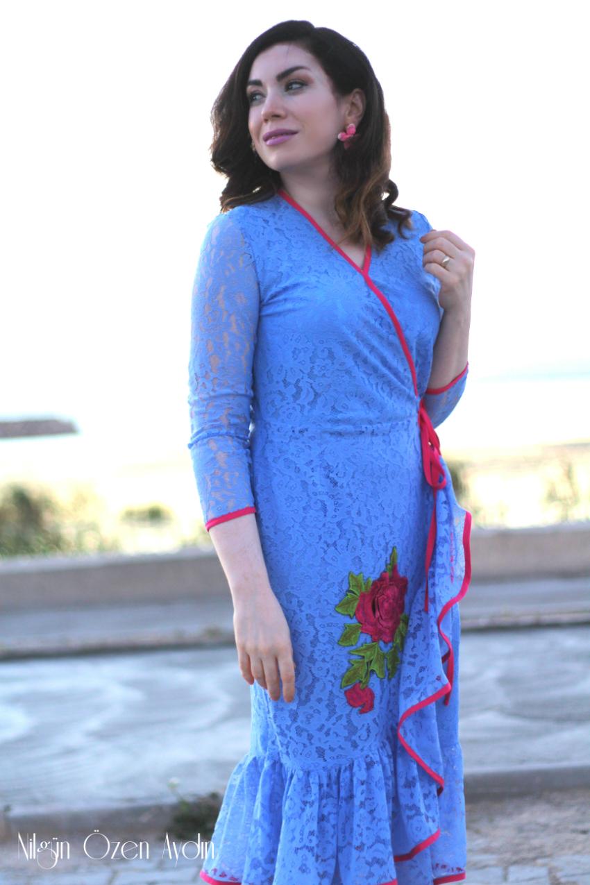 diktiklerim-elbiseler-Fırfırlı Aplikeli Dantel Elbise dikimi-dikiş blogu-dikiş blogları