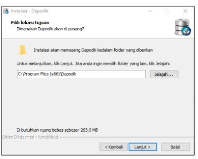 Lokasi tujuan instalasi Aplikasi