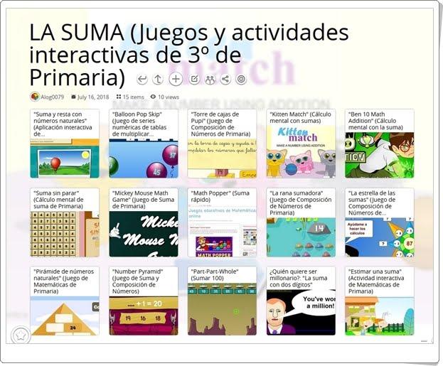 """""""15 Juegos y actividades interactivas para la práctica de LA SUMA en 3º de Primaria"""""""