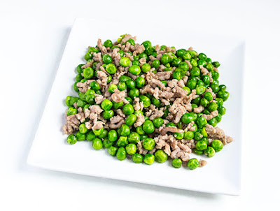 Chinese food - fried peas and minced pork