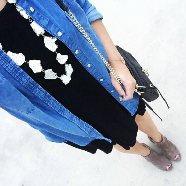 little black dress, perfect chambray shirt