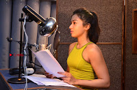 Actress Catherine Tresa Pos during Self Dubbing for Gautham Nanda Movie  0042.JPG