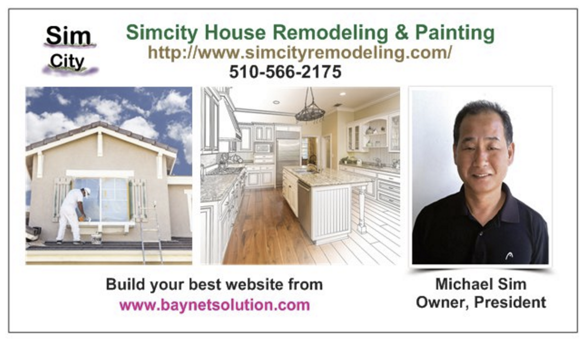 Michael Sim is a talented painting master & one of the best house painting contractors in the surrounding Bay area. Simcity Remodeling & Painting company will provide you professional quality painting services and an experience you'll be thrilled with